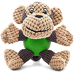 """Raffaelo Dog Toy, Plush Squeaking Dog Toys, Dog Plush Toy, Chew Toy with Squeaker, Teeth Cleaning for Puppy, Small and Medium Dogs, Not Suitable for Big Dogs (Plush Toys-Monkey(5.9-6.2""""))"""