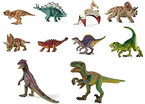 Schleich Prehistoric Life Set of 10 Dinosaurs: 8 Miniatures and 2 Small Dilophosaurus (14510), Velociraptor (14509) and 8 miniature Great Set of Durable, Realistic Dinos Bagged Ready to Give