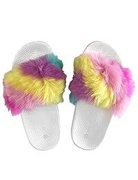 Popular Girls' Fuzzy Faux Fur Slide Slip On Sandals