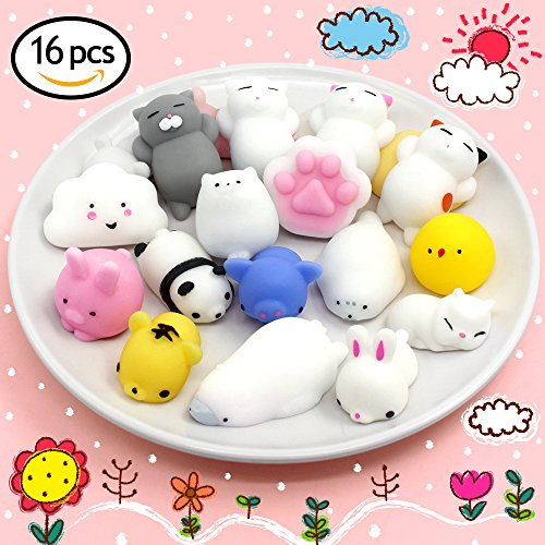 Cheap  Mochi Animals Squishies Toys 16 PCS Kawaii Animals Stress Relief Toys Cute..