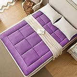 D&LE Thin Mattress Topper, Foldable Super Soft Tatami Floor mat Breathable Single Double Multi-Function Mattress-Purple 90x200cm