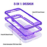 Dexnor iPhone 8 Case, iPhone 7 Case, iPhone 6 Case, Glitter 3D Bling Sparkle Flowing Liquid Case for Girls 3 in 1 TPU Silicone + PC Protective Shockproof Defender Cover for iPhone 8/7/6s/6 - Purple