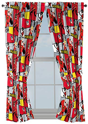 Jay Franco Disney/Pixar Incredibles Super Family 63 Inch Drapes 4 Piece Set - Beautiful Room Décor & Easy Set Up - Window Curtains Include 2 Panels & 2 Tiebacks (Official Disney/Pixar Product)