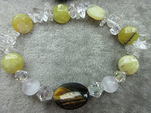 Genuine Tigers Eye, Selenite and Yellow Opal Healing Bracelet Stamina Joy Awakening
