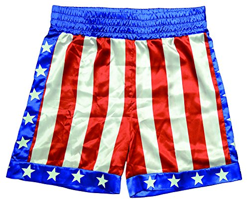 Trick or Treat Studios Men's Rocky - Apollo Creed Boxing Trunks, Red/White/Blue, One Size