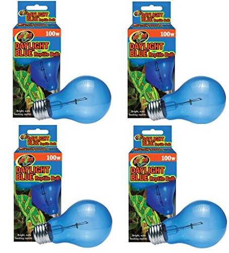 (4 Pack) Zoo Med Daylight Blue Reptile Bulbs - 100 Watt Each