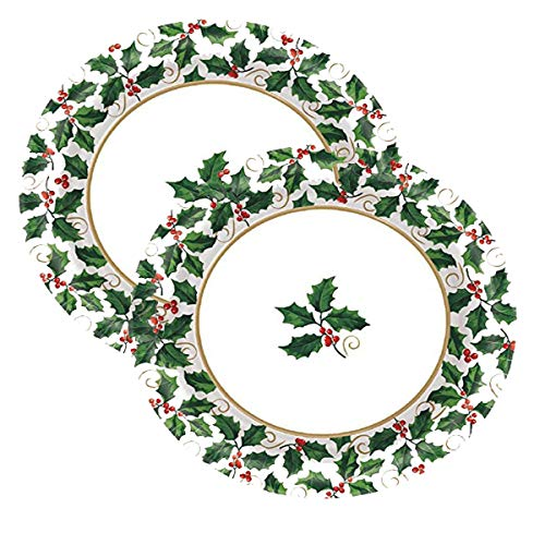(Amscan Small Seasonal Holly Paper Plates Christmas Party Disposable Party Value Tableware (80 Pieces), Green, 6 3/4