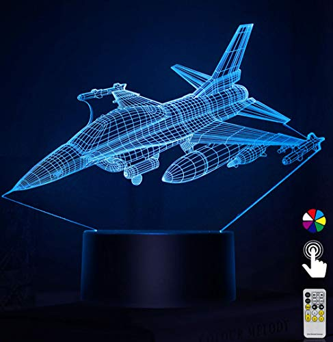 Night Lights for Kids Plane Airplane Aircraft 3D Night Light Bedside Lamp Toy Light 7 Colors Changing with Remote Control Best Christmas Gifts and Birthday Gifts for Boys Girls Kids Baby Children