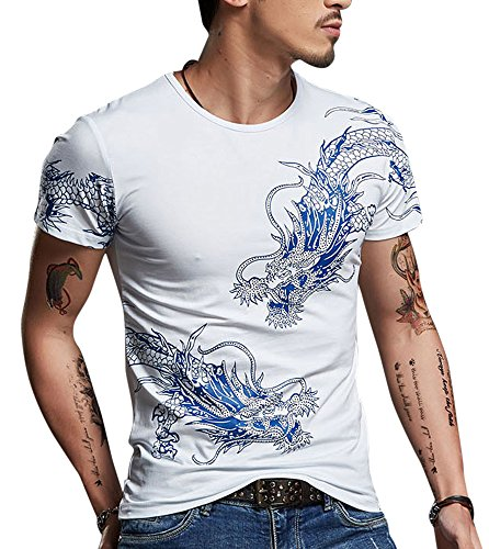 CRBT Mens Form Fitting T Shirt Soft Short Sleeves Top Muscle Cotton Shirts (Medium, White)