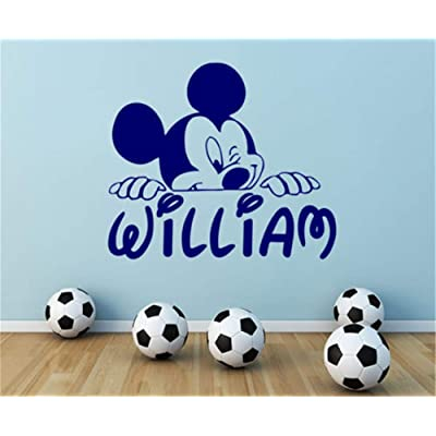 Wikaus Mickey Minnie Mouse Wall Art Decal Sticker Personalized Name Wall Decal Mickey Mouse Decals Boy Nursery Room Decor DIY Customize Name and: Home & Kitchen