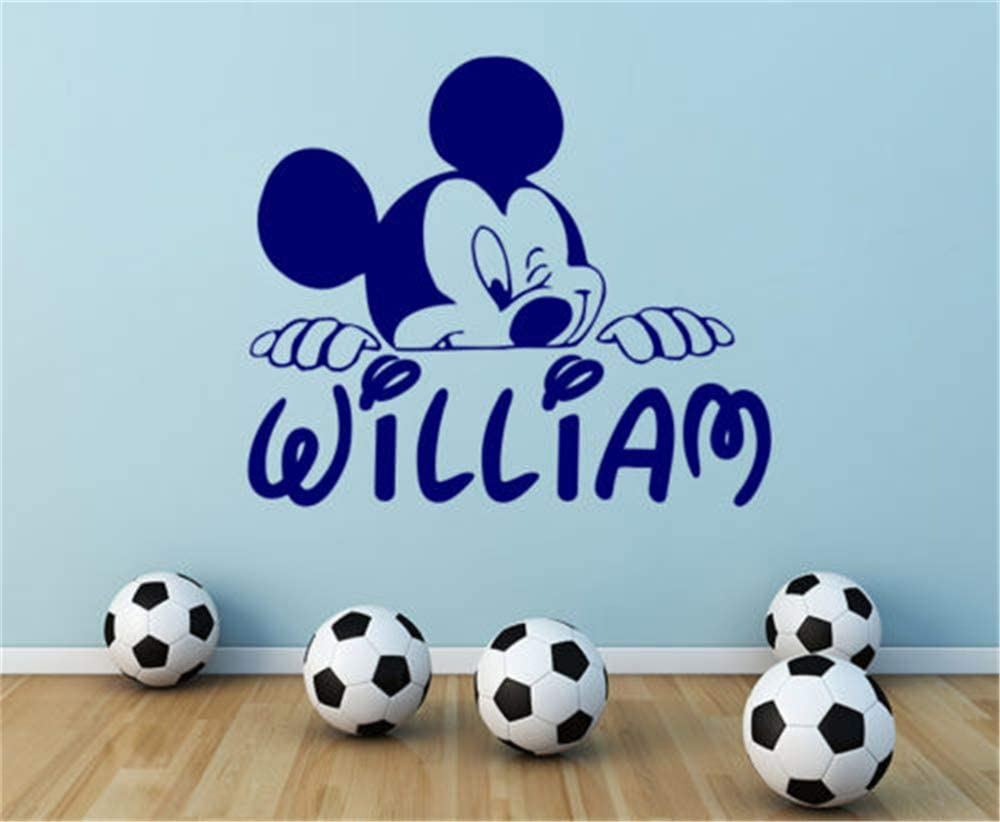 Wikaus Mickey Minnie Mouse Wall Art Decal Sticker Personalized Name Wall Decal Mickey Mouse Decals Boy Nursery Room Decor DIY Customize Name and