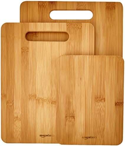 AmazonBasics 3-Piece Bamboo Cutting Board Set