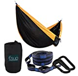 Esup XL Camping Hammock -Multifunctional Lightweight Nylon Portable Hammock, Best Parachute Hammock For Backpacking, Camping, Travel (Black/Yellow, 118''(L) x 78''(W))
