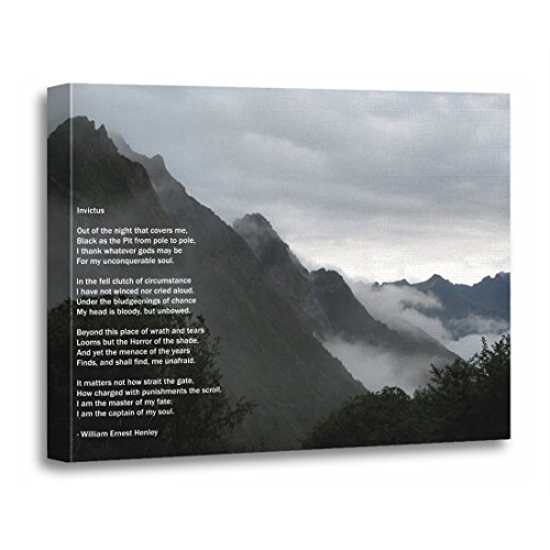 "TORASS Canvas Wall Art Print Inspirational Hiking in The Invictus Poem Mountains Artwork for Home Decor 16"" x 20"""