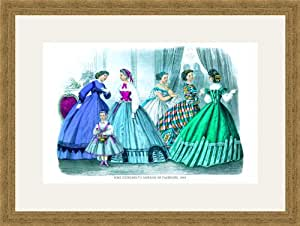 Mme. Demorest's Mirror of Fashions, 1840 #1 12x18 Archival Ink-JetPprint, Matted and Framed