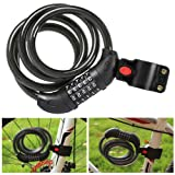 Bike Lock Cable 5-Feet Bike Cable Basic Self Coiling Resettable Combination
