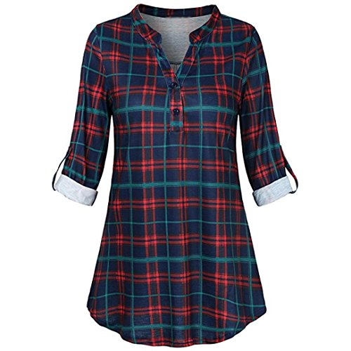 Forthery Women Blouse 3/4 Sleeve Plaid Tunic Tops V Neck Split Blouse Clearance Sale(Red, X-Large)
