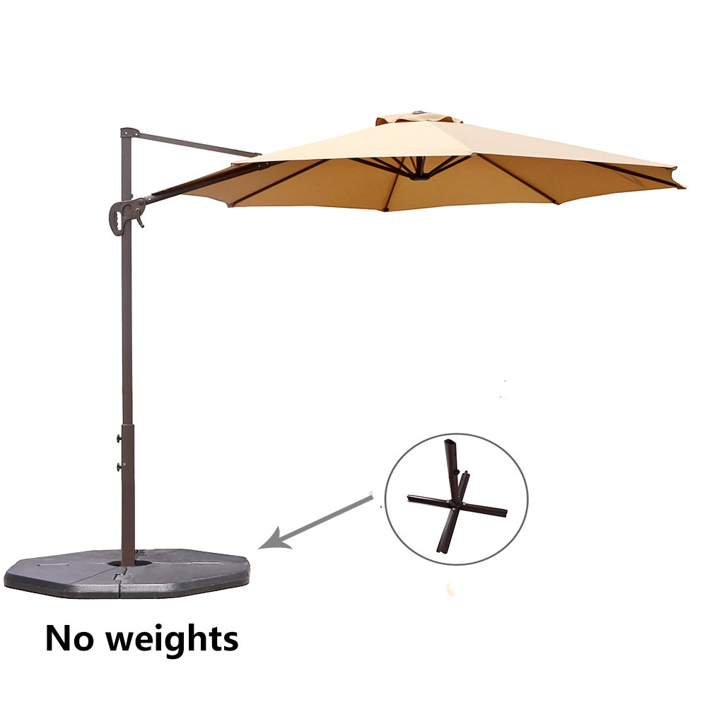 Le Papillon 10 ft Cantilever Umbrella Outdoor Offset Patio Umbrella Easy Open Lift 360 Degree Rotation, Beige by Le Papillon