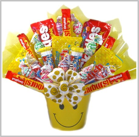 Delight Expressions™ Sweets N' Smiles Gift Basket - Candy Bouquet - Birthday or Halloween Gift for (Halloween Candy Baskets)
