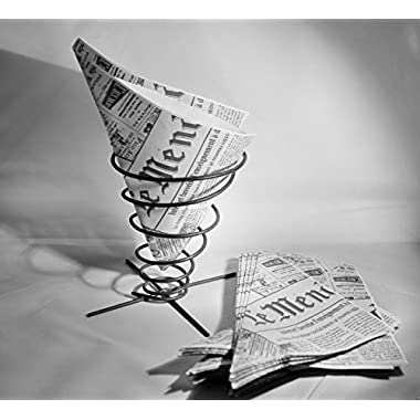 Glory & Grace Rustic Industrial Pommes Frites French Fry Cone Appetizer Holder, Set of 2 with Bonus French Newspaper Liners