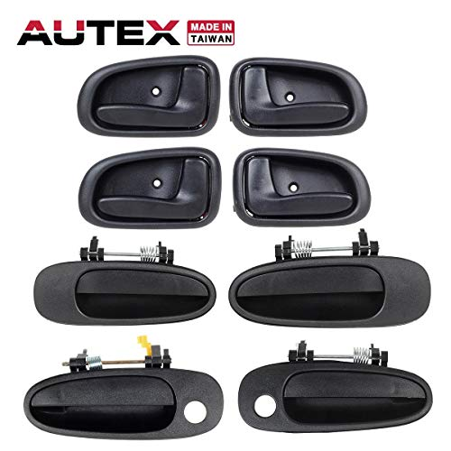 (AUTEX 4pcs Left (Driver Side) Inner Interior + 4pcs Right (Passenger Side) Outer Exterior Door Handle Compatible with Geo Prizm 1993 1994 1995 1996 1997)