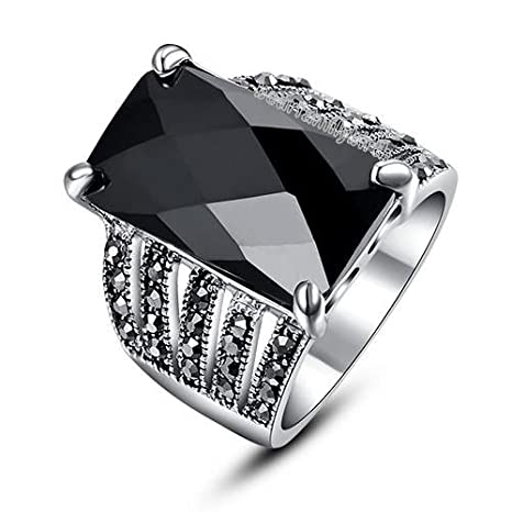 da6fc5ee925f4 Blazers Jewelry 1985 - Vintage Marcasite Big Black Swarovski Crystal Ring  18k White Gold Gold Plated Alloy (8)