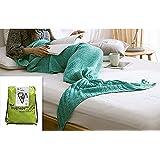 Hughapy knitted Mermaid Tail Blanket for Adults Teens,Kids Crochet Snuggle Mermaid,All Seasons Seatail Sleeping...