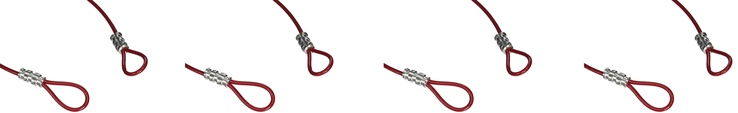 Brady Double Looped Lockout Cable - Plastic Coated Steel, 2' Cable, Red - 131063 (Fоur Paсk, Red)