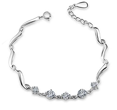 Amazon Com Zgshnfgk 925 Sterling Silver Bracelet Girl Simple