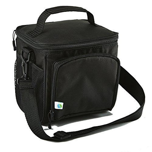 Fit & Fresh Small Cooler Bag & Lunch Box, Insulated  with Adjustable Shoulder Strap, 6-can Cooler Bag for Adults & Kids, Black -  7094FFBLK