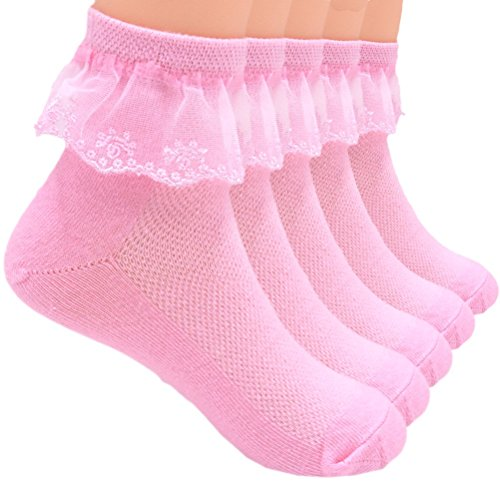 Sept.Filles Socks Girl's Anklet Socks Lace Top Dress Socks Packs of 5 (S(0-2y), Pink) ()