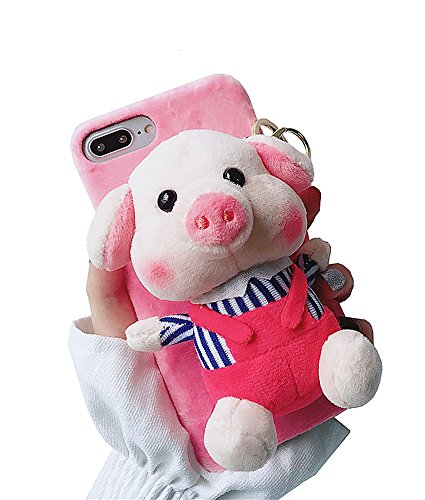 Cartoon Doll Toy Piggy iPhone 7 Plus Case, 3D Cute Stripes Plush Strap Pig Soft Cover with Bracket Stand for iPhone 8 Plus Case (Red Clothes, iPhone 7 Plus / 8 Plus)