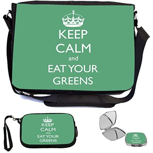 Rikki Knight Keep Calm and Eat your Greens Design COMBO Multifunction Messenger Laptop Bag - with padded insert for School or Work - includes Wristlet & Mirror
