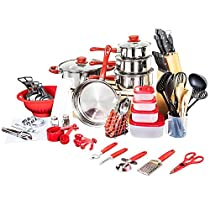 Veica,Highly Durable,80 Piece Stainless-Steel Cookware Set,Kitchen Gadgets,Black