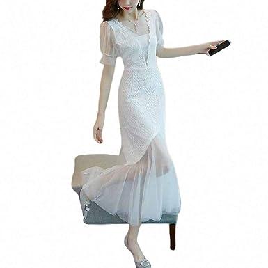 Vestido Blanco de Encaje para Mujer, de Malla, Falda para Pesca ...