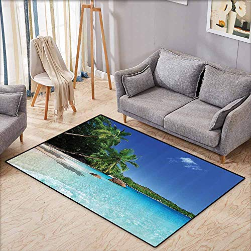 Non-Slip Rug,Ocean Decor,Tropic Palm Trees Heaven Beach Colorful Picture,Anti-Static, Water-Repellent Rugs,3'11