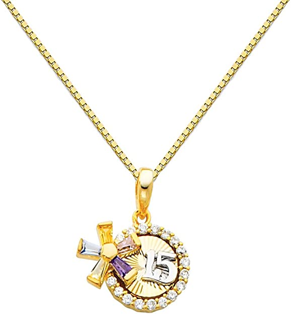 14k Yellow Gold Sweet 15 Key Pendant with 0.65mm Box Link Chain Necklace