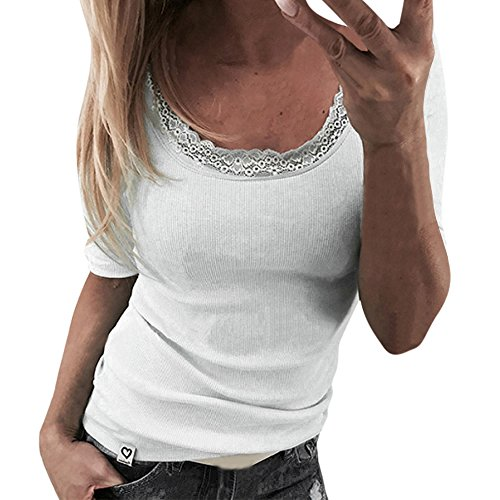 Price comparison product image Charberry Hot Sale Womens Round Neck Lace Sleeveless Slim T-Shirt Sexy Stitching Pullover Tops Blouse (US-4/CN-S, White)