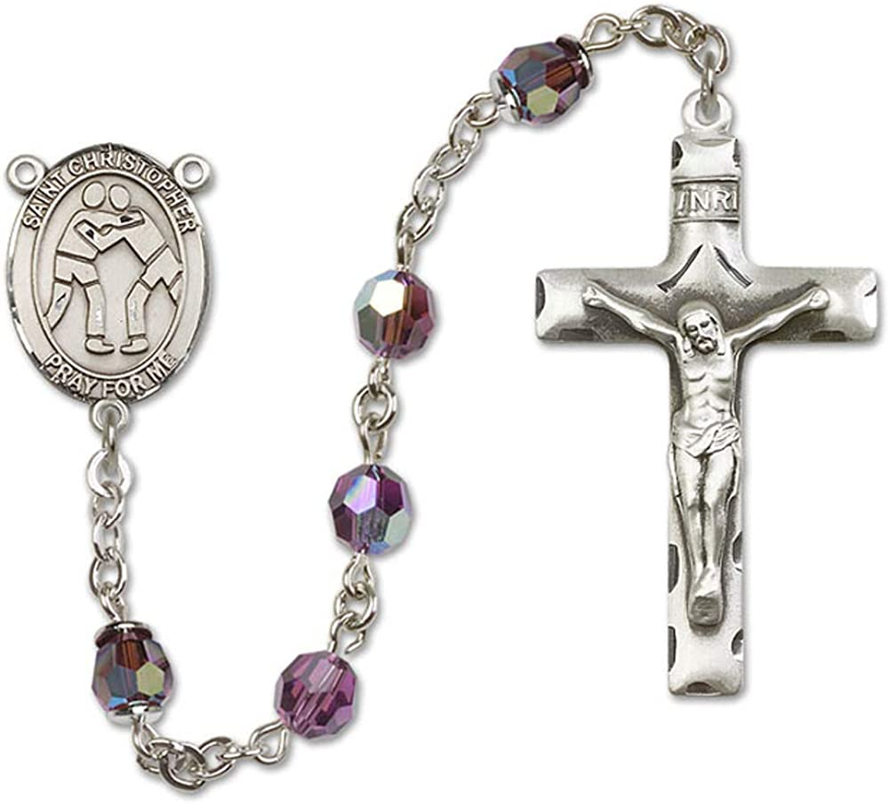 St 6mm Swarovski All Sterling Silver Rosary with Amethyst Austrian Tin Cut Aurora Borealis Beads Christopher//Wrestling Center is the Patron Saint of Travelers//Motorists.