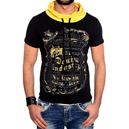 RTN-16645 R-Neal Clubwear Herren T-Shirt hoher schal kragen kurzarm Shirt NEU, Größe:XL, Farbe:Schwarz / Gelb