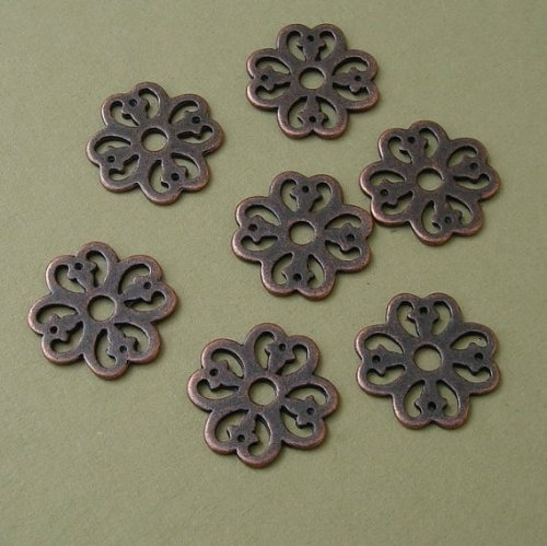BeadsTreasure 10 Antiqued Copper Round Flower Double Sided Charm Pendant Connector Jewelry Making Finding Supply.