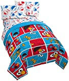 Jay Franco Sesame Street Sesame Street Elmo Cookie Squares 4 Piece Twin Bed Set - Includes Reversible Comforter & Sheet Set - Super Soft Fade Resistant Polyester - (Official Sesame Street Product)