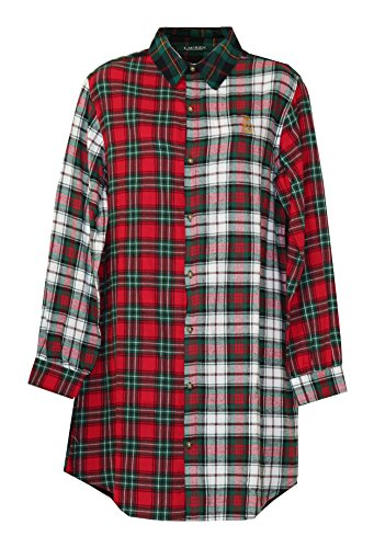 Ralph Lauren Signature Long Sleeve Plaid Sleepshirt Nightgown (Colorblack Plaids Red White Black Back Hunter Green Black Plaid, Medium)