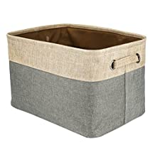 Bulons Storage Bin Cotton & Jute Portable Foldable Organizer Boxes, Big Canvas Storage Basket Bag for Baby & Kids Toys, Clothes, Cars and Books without Cover