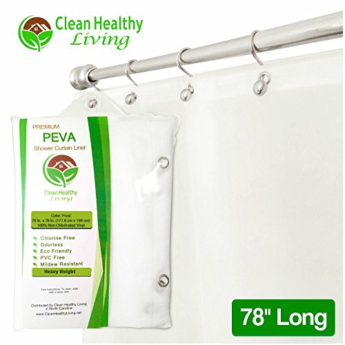 Commercial Curtain - Clean Healthy Living Heavy Duty Extra Long PEVA Shower Liner/Curtain: Odorless & Mildew Resistant (with Suction Cups). Eco Friendly 70 x 78 in. long - Frost Color