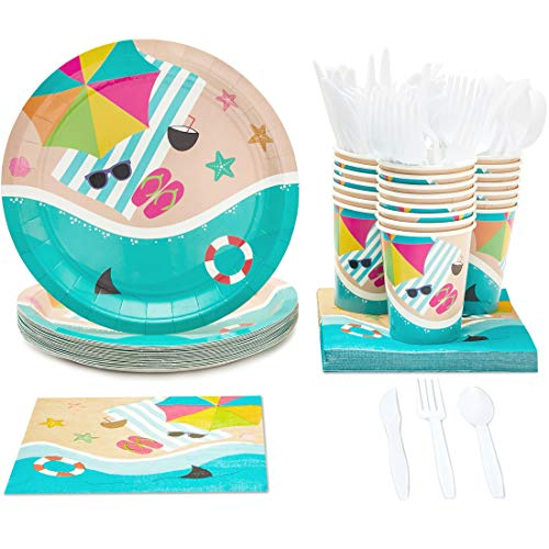 Summer Theme Parties (Disposable Dinnerware Set - Serves 24 - Summer Beach Party Supplies, Includes Plastic Knives, Spoons, Forks, Paper Plates, Napkins,)