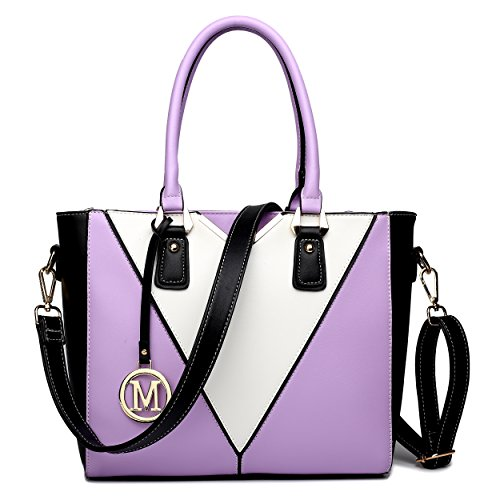 Miss Lulu Women's Leather Look V-Shape Shoulder Handbag Large Purple