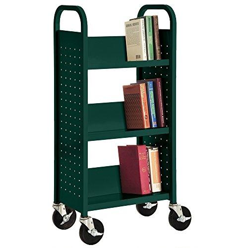Four Sided Library - Sandusky Lee SL33017-08 Single Sided Sloped Shelf Book Truck, 14