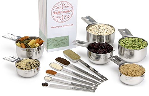 Simply-Gourmet-Stainless-Steel-Measuring-Cups-and-Spoons-Set-12-Piece-Lifetime-Design