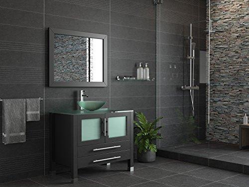 36 Inch Espresso Solid Wood Glass Vessel Sink Set- Mercer (Chrome Faucet)